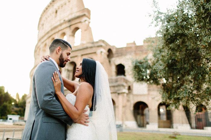 wedding portrait outside coliseum