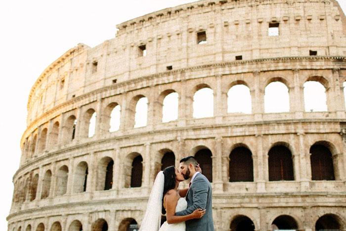 wedding portrait in front of coliseum