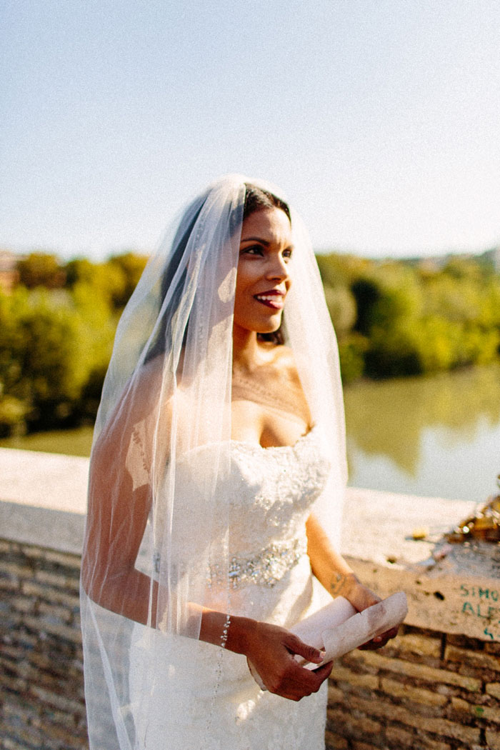 bride at outdoor elopement ceremony in Rome
