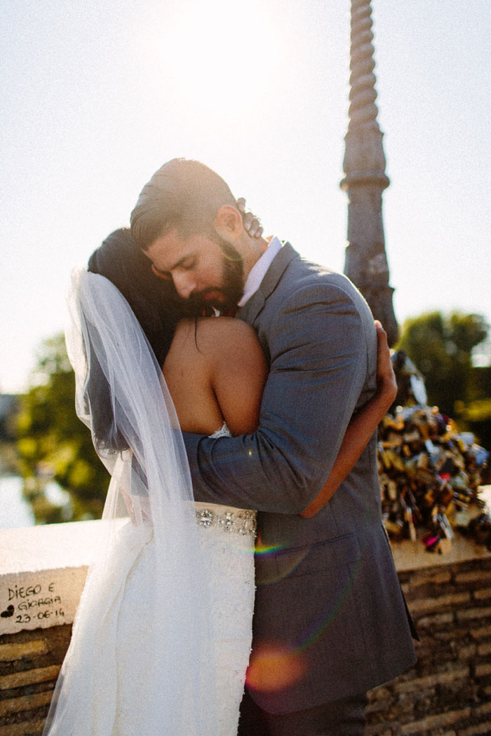 bride and groom hugging at end of elopement ceremony
