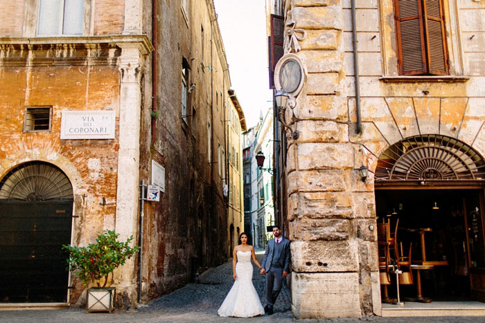 bride and groom portrait in Rome
