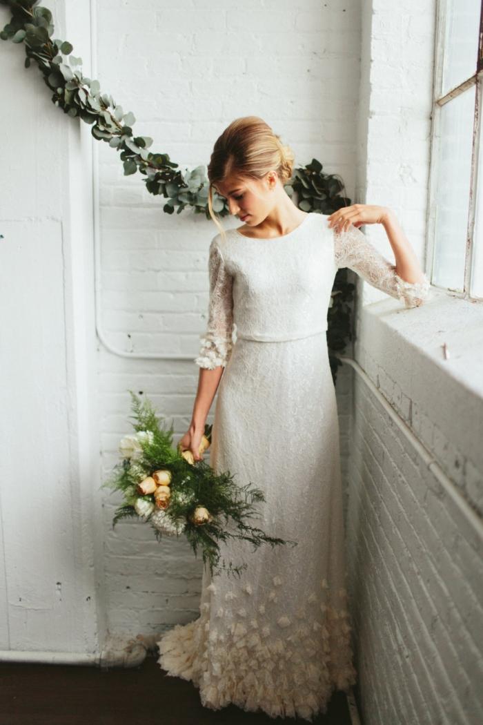 3/4 Sleeve Lace Wedding Dress
