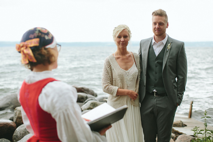 Swedish beach wedding ceremony