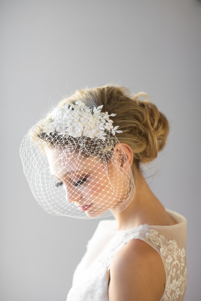 lace jeweled birdcage veil