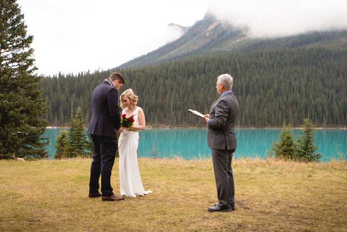 elopement ceremony in front of Lake Louise