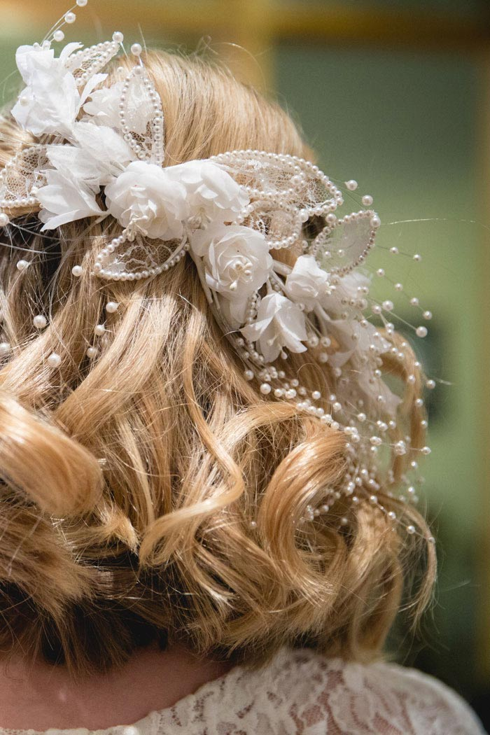 close-upof bride's hair