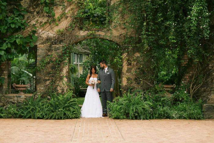 bride and groom entering Haiku Mills