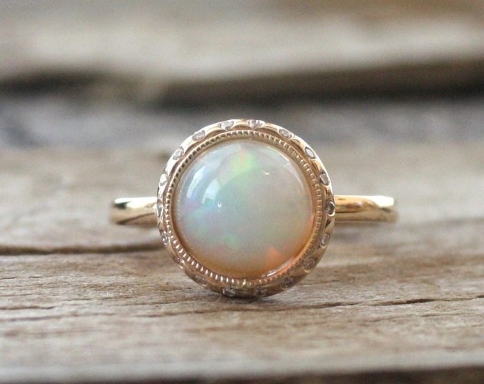 opal diamond bezel ring