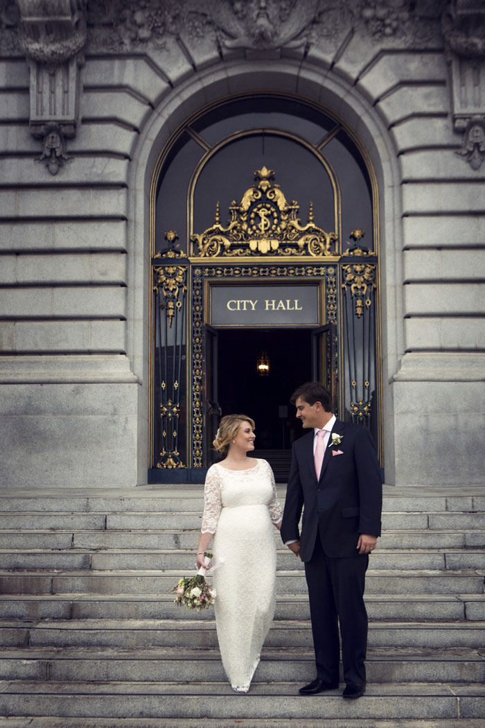 city hall wedding portrait