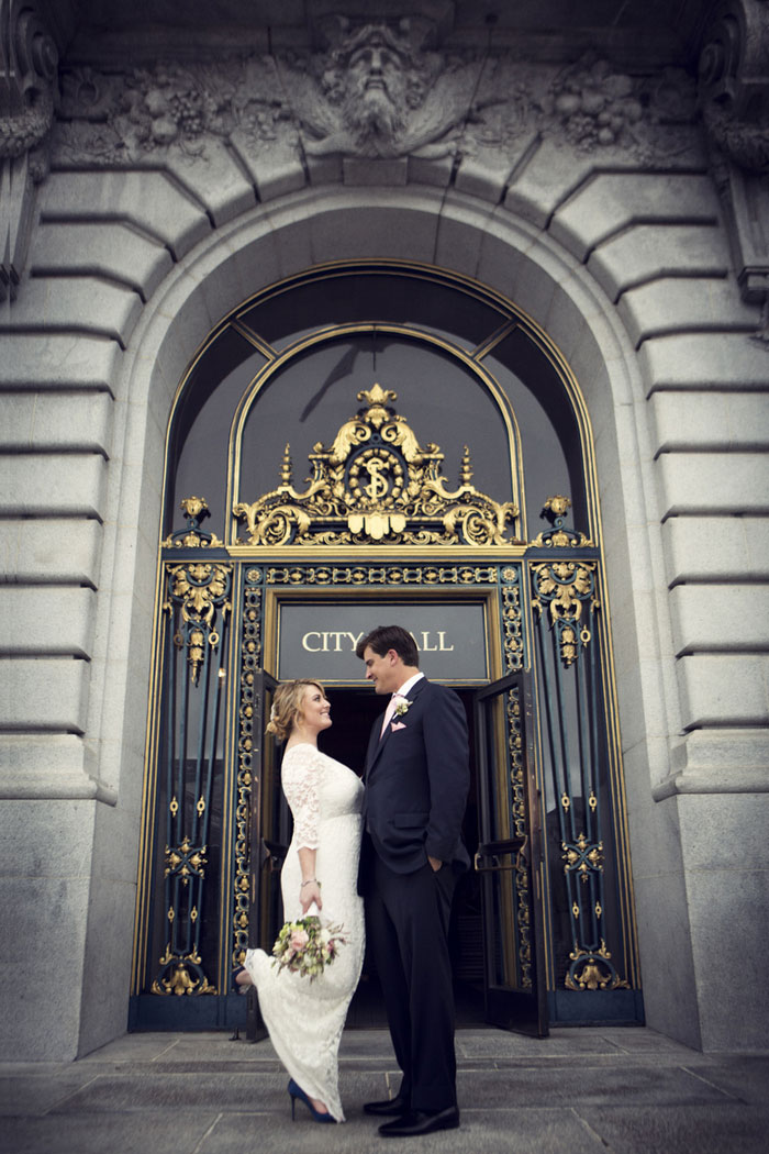 wedding portrait outside City Hall