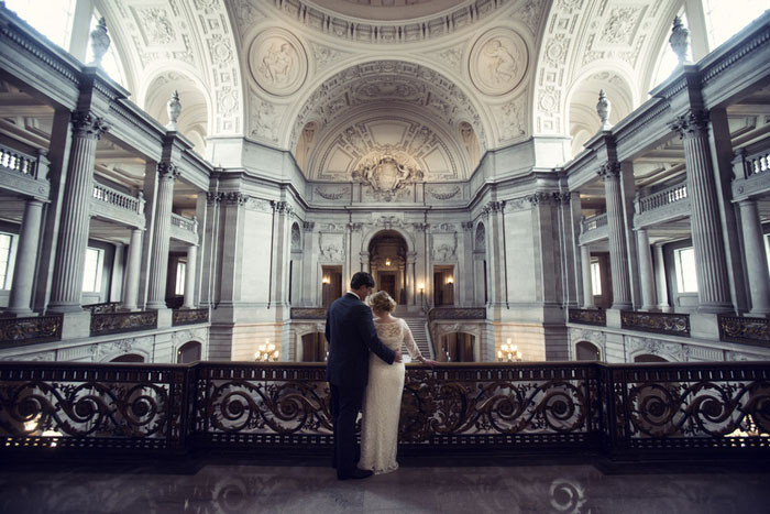wedding portrait inside city hall