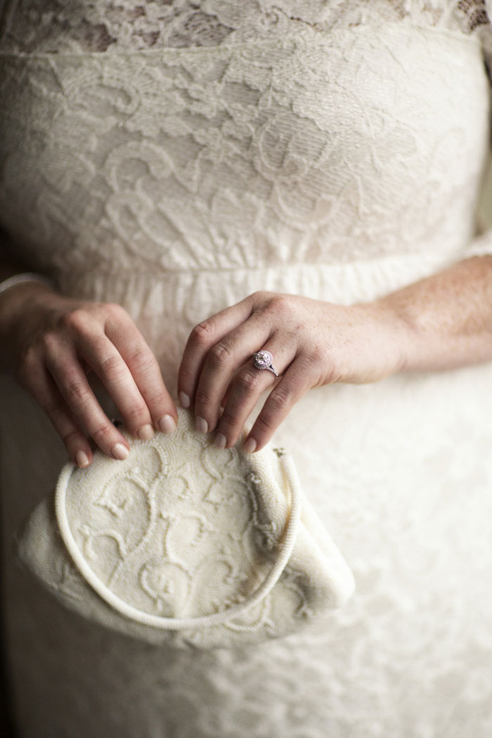 bride holding purse