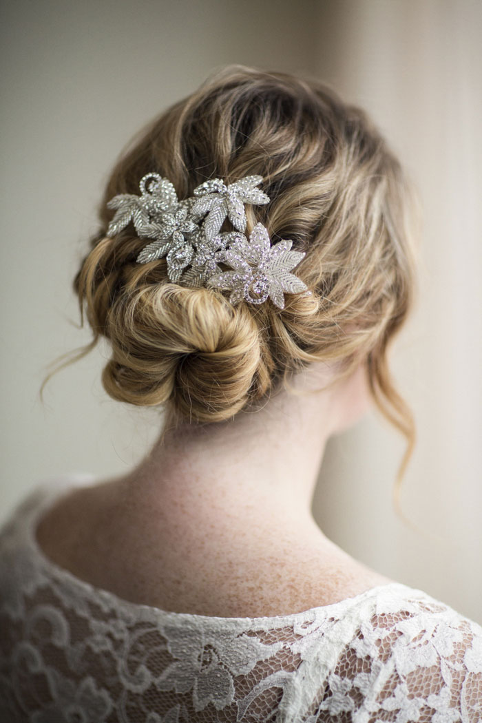 bride's jeweled hair clip