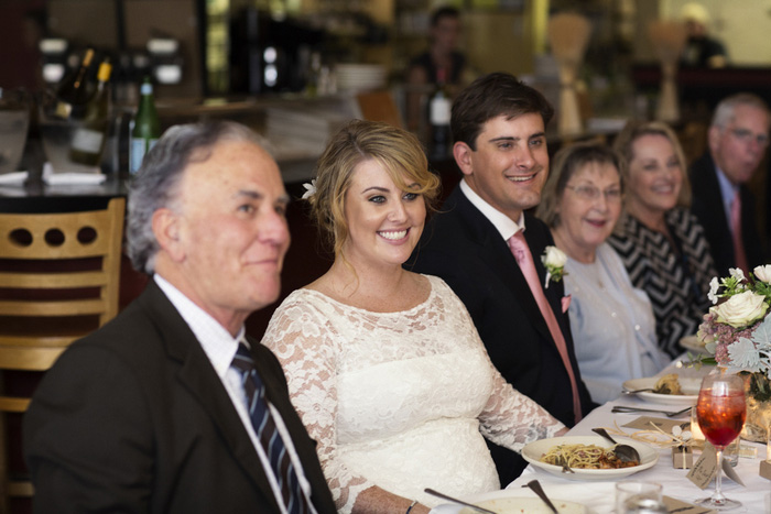 bride and groom ar restaurant wedding reception
