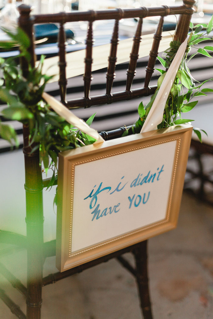 hand painted wedding chair sign