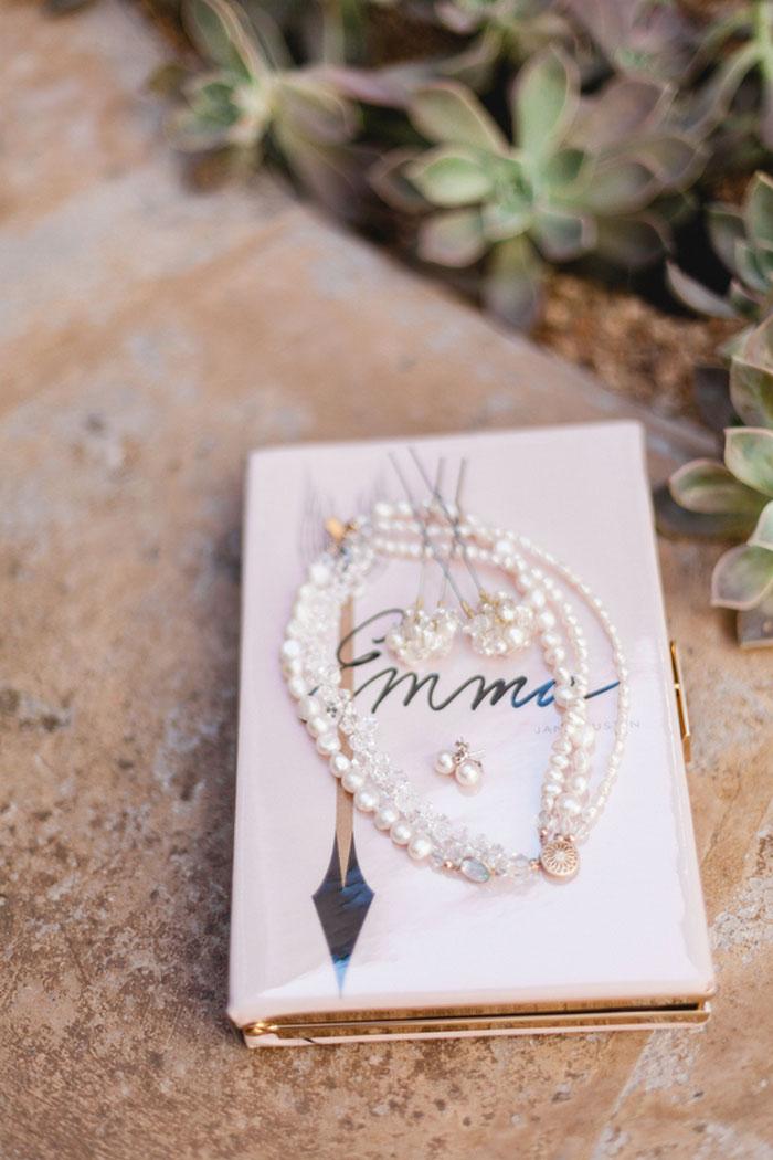 bride's accessories on book