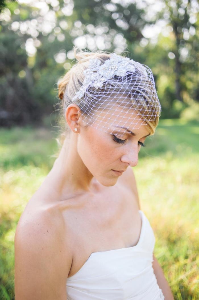 silver crystal birdcage veil