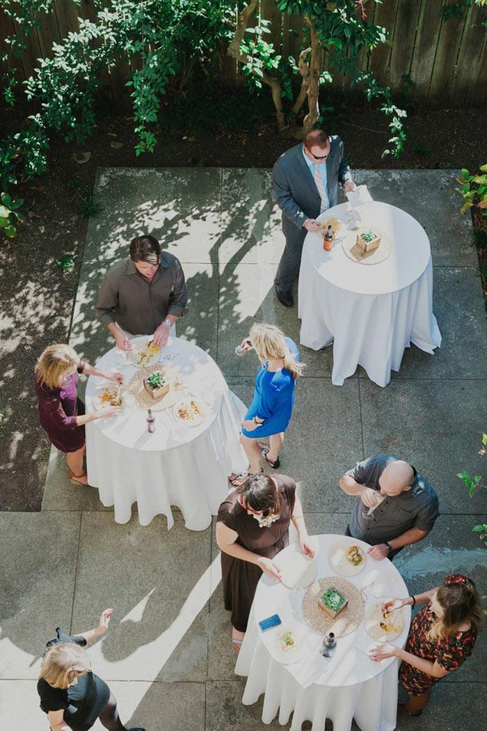 wedding guests at backyard reception