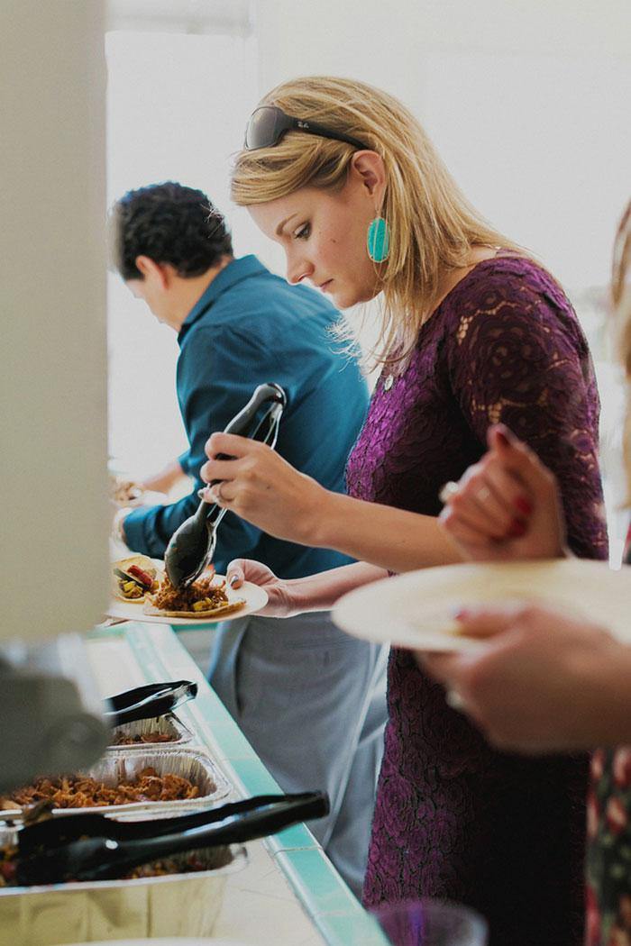 wedding guest at buffet