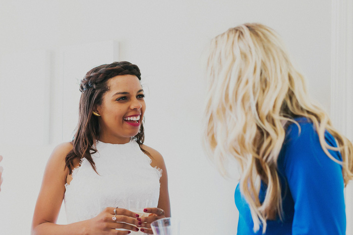 bride talking to guest
