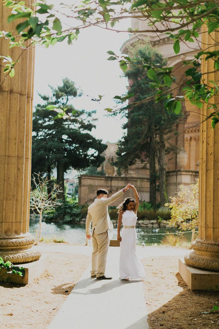 portrait of bride and groom dancing