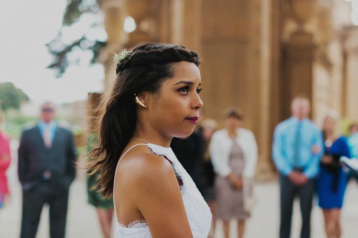 portrait of bride during ceremony