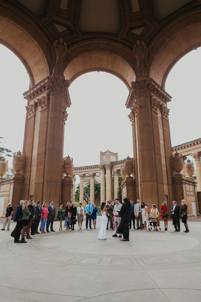 Palace of FIne Arts outdoor wedding ceremony