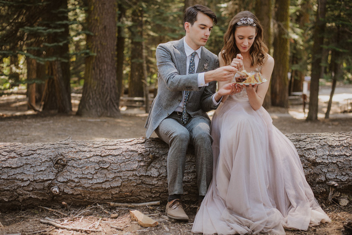 bride and groom eating cake on a log in the woods