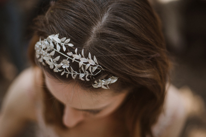 bride's silver leaf headband