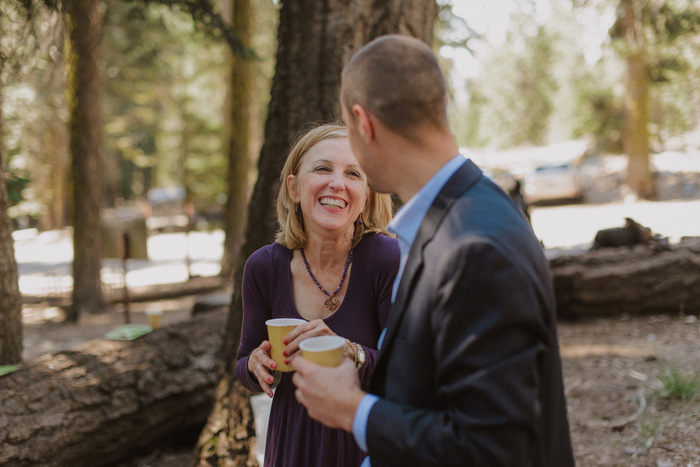 wedding guests in the woods