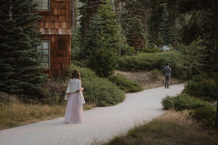 bride walking towards groom