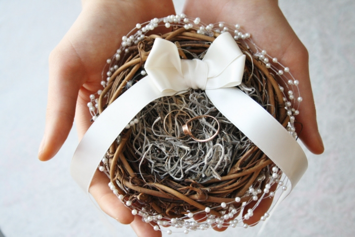 birds nest ring pillow
