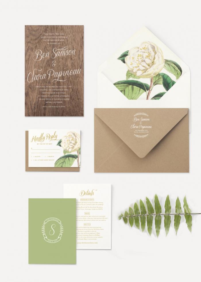 classy wood flower invite