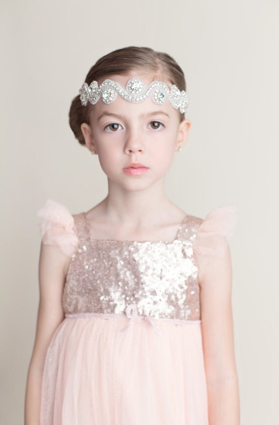 crystal flower girl head band