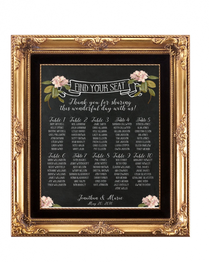 digital download seating chart chalkboard