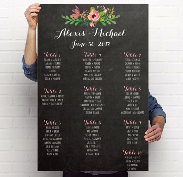 fake chalkboard seating chart