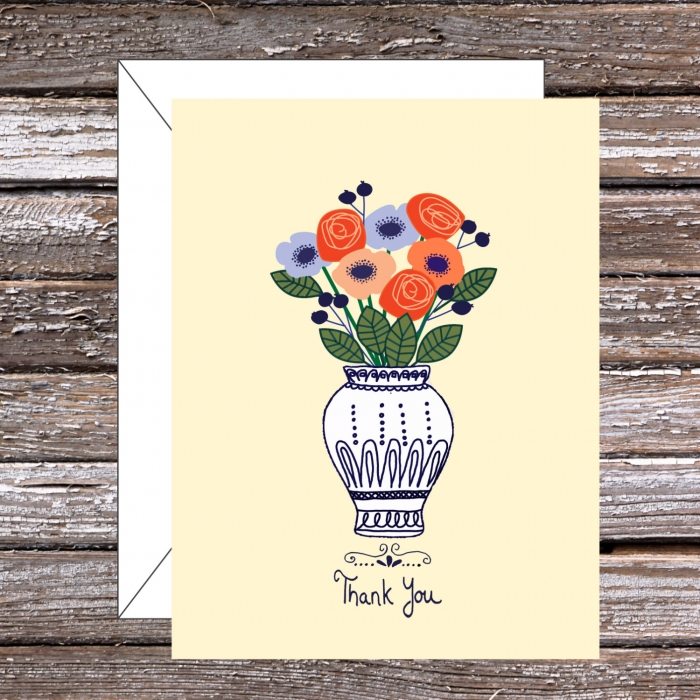 floral vase thank you card