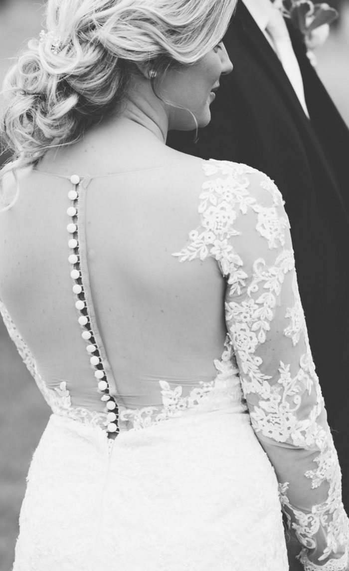 closeup of bride's wedding dress
