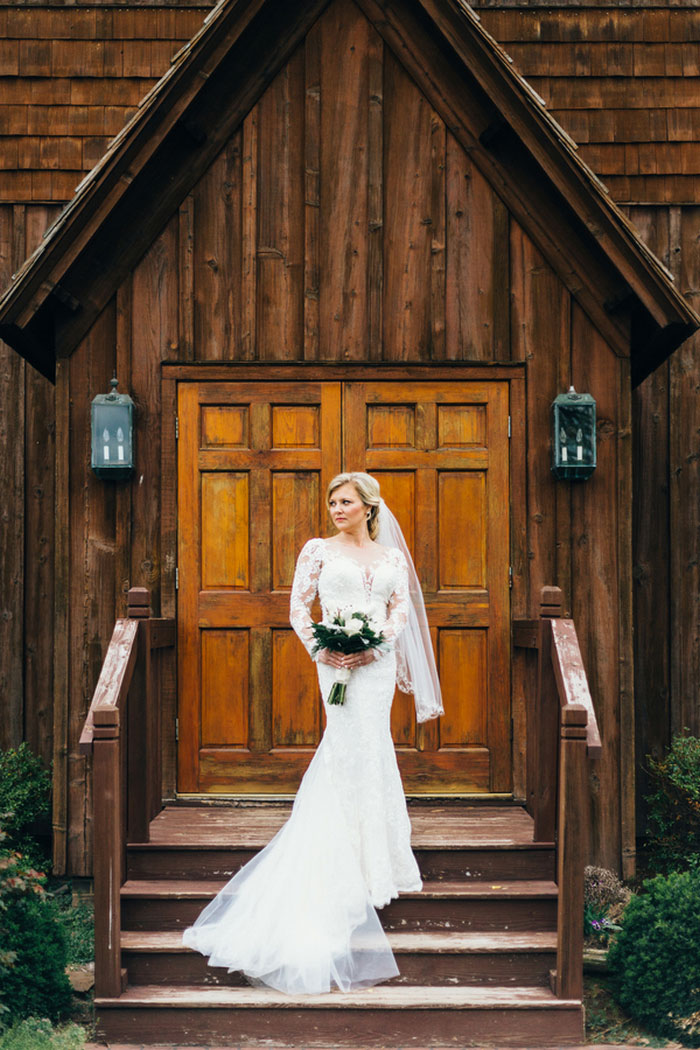 bride portrait in front of church
