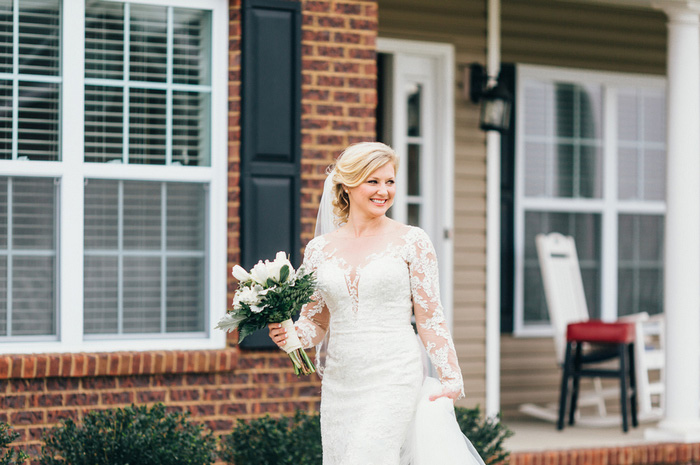 bride walking outside house