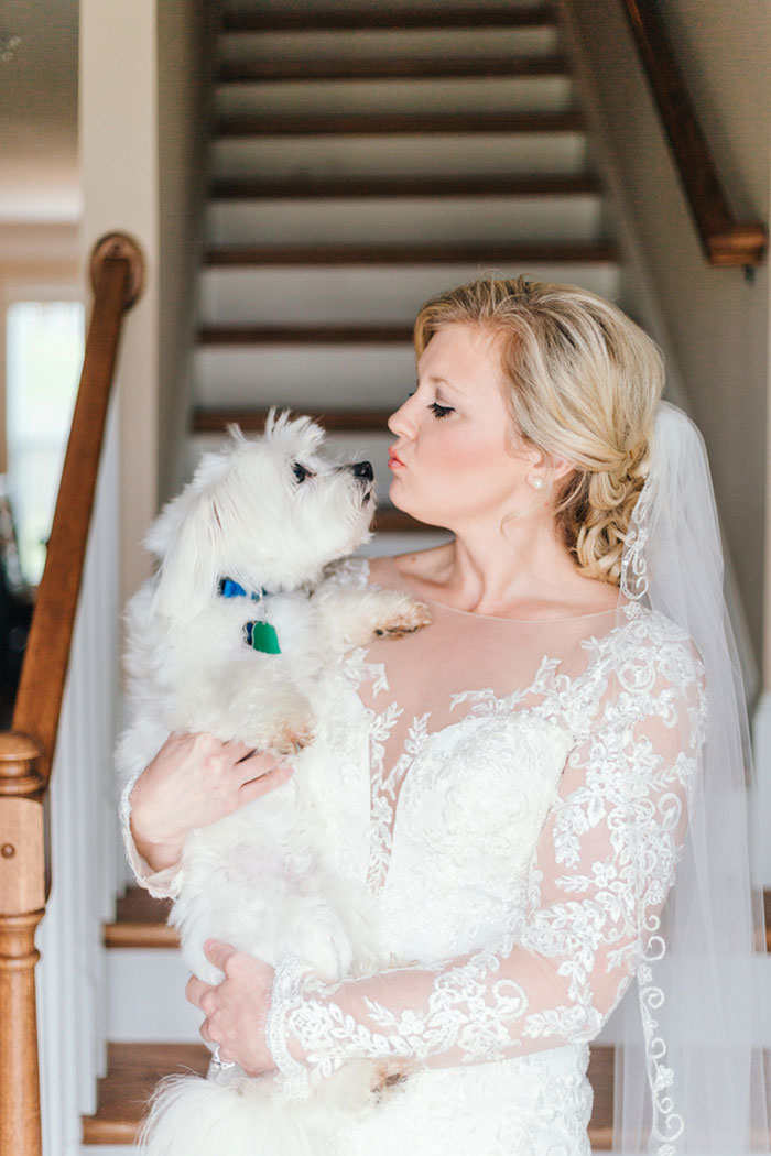 bride holding dog