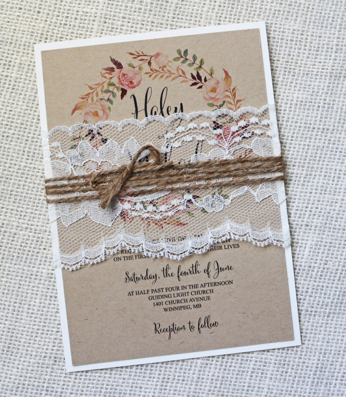 lace and twine wedding invite