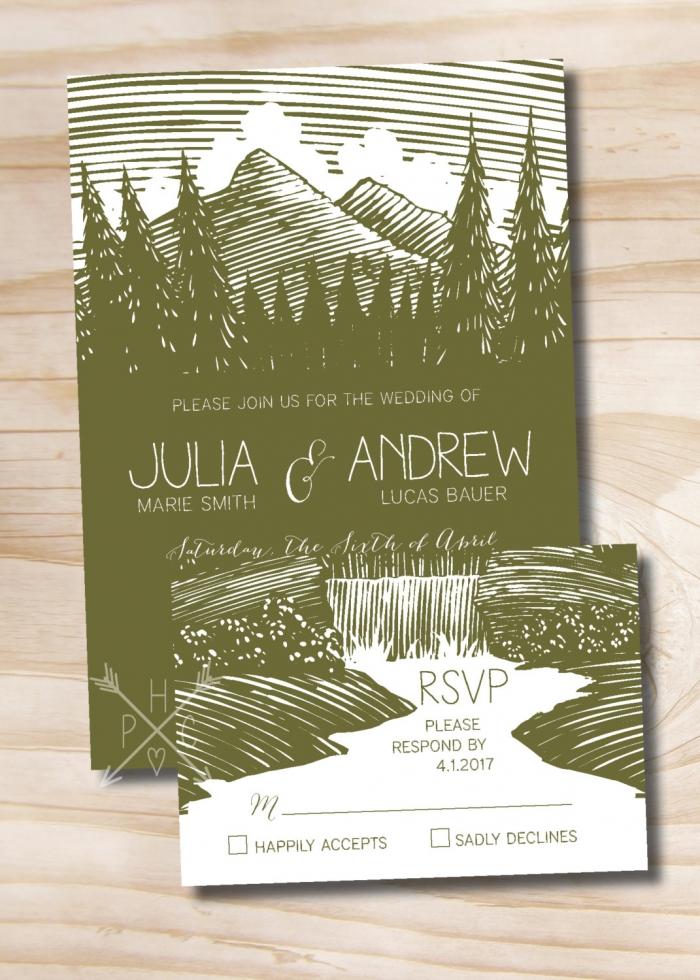 mountain wedding invite