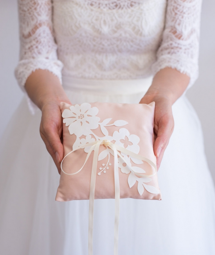 pink and lace ring pillow