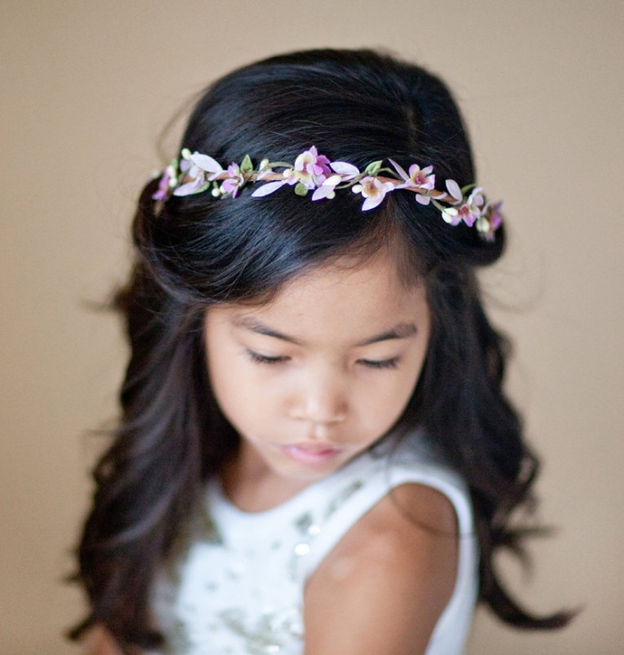 purple flower girl crown
