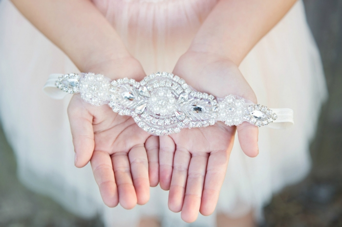rhinestone head band flower girl