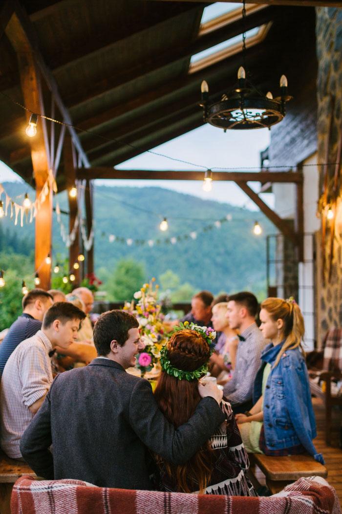 porch wedding reception dinner