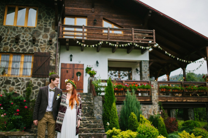 bride and groom portrait in front of chalet