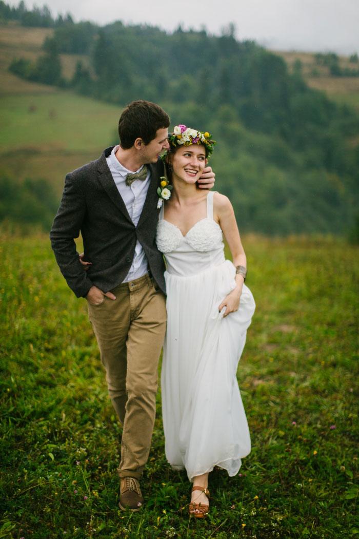 bride and groom walking portrait