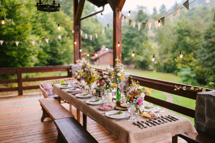 wedding reception set-up on chalet porch